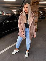 Стильная зимняя тёплая женская длинная куртка зефирка мокко S 42 M 44 L 46 48 50