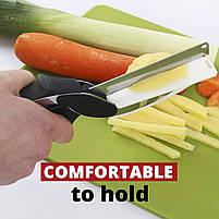 Розумний універсальний кухонний ніж і кухонні ножиці 2в1 Clever Cutter зі знімним лезом Конюшина каттер, фото 7