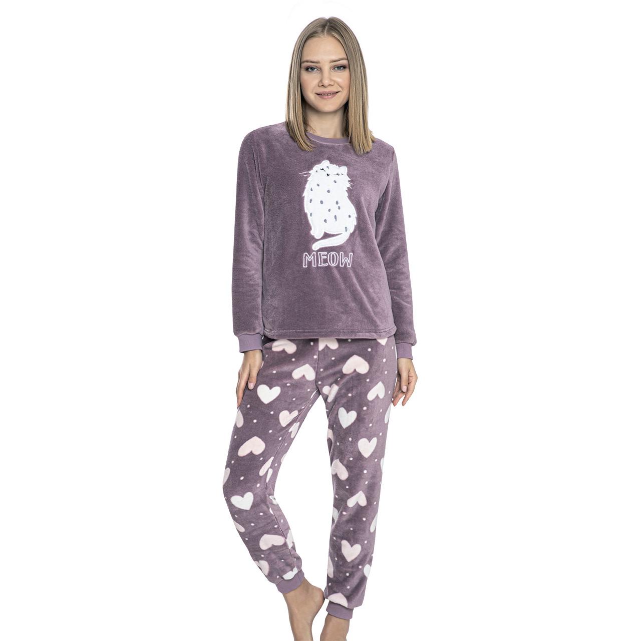 Пижама женская турецкая теплая, домашние костюмы Meow