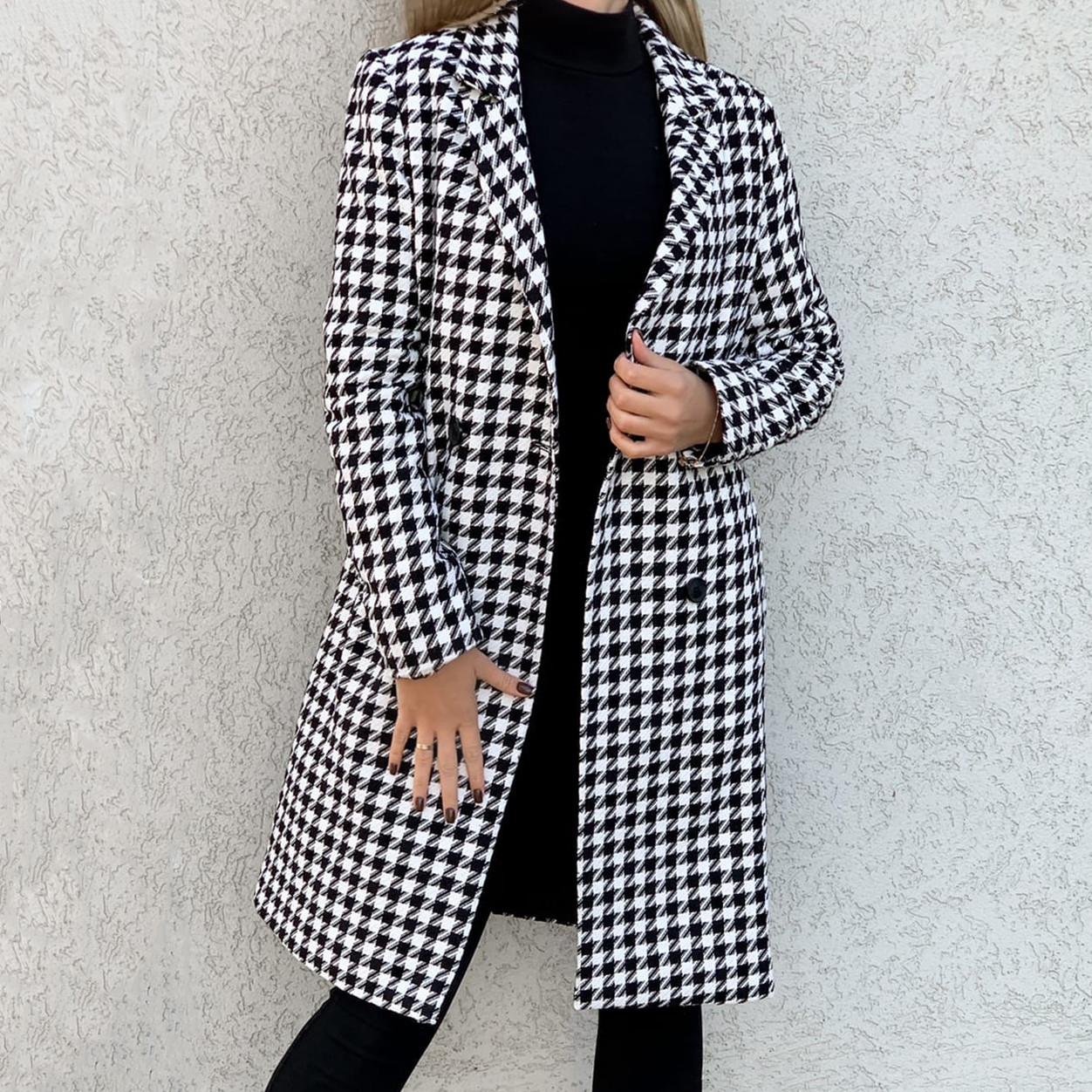 Тёплое пальто женское прямого кроя