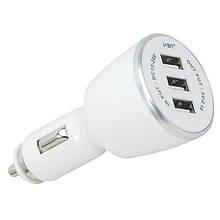 Автомобильная USB зарядка от прикуривателя VST-707, 12V, 3 USB