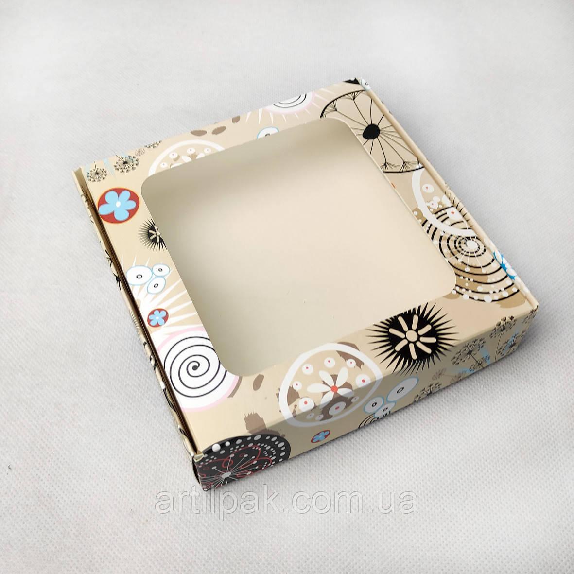 Коробка 150*150*35 з вікном Абстракція Квіти