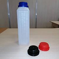 Белая пластиковая канистра 1 литр. Флакон для промышленной химии, моторного масла