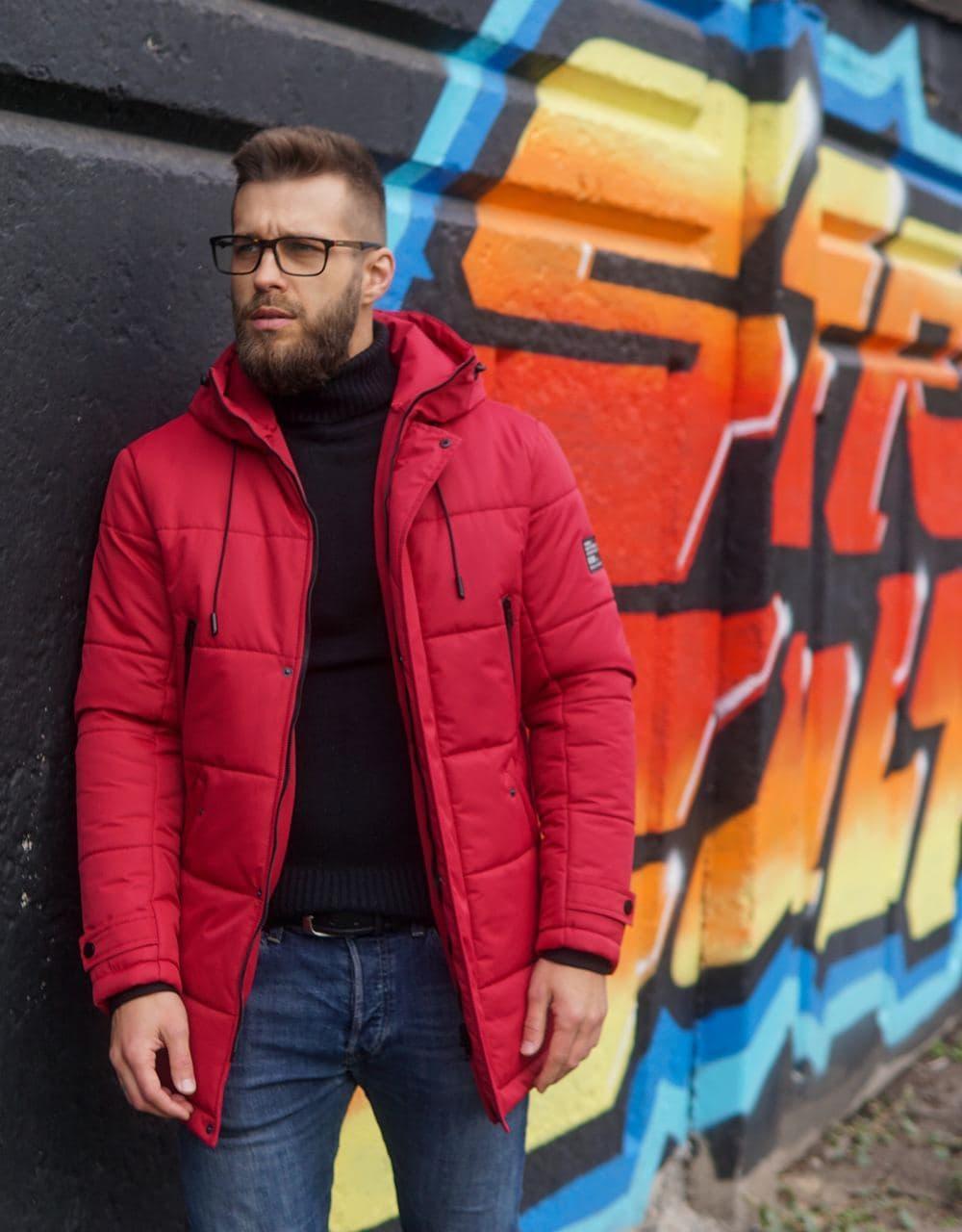 Мужская зимняя куртка бордо Б-6