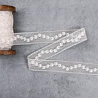Кружево хлопковое ажур кружочки беж, ширина 2.3 см