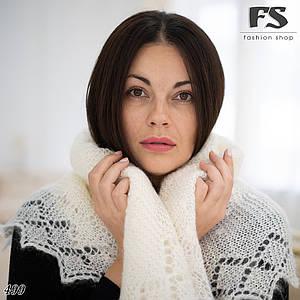Оренбургский молочный пуховый платок Аврора 125 см
