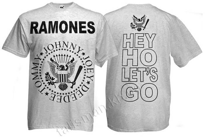 Футболка RAMONES - лого - меланжевая , фото 2