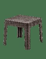 Стол низкий пластиковый Brezza Senyayla ротанг, коричневый, верх под дерево, 45 x 45 x 41 см