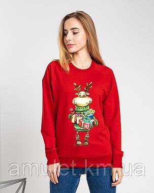 """Світшот жіночий новорічний утеплена """"Олень з подарунками"""", фото 2"""