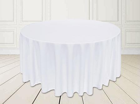 Скатертина Біла Ø 330см Банкетна Туреччина Сервіровка на стіл 180см звисання 75см, фото 2