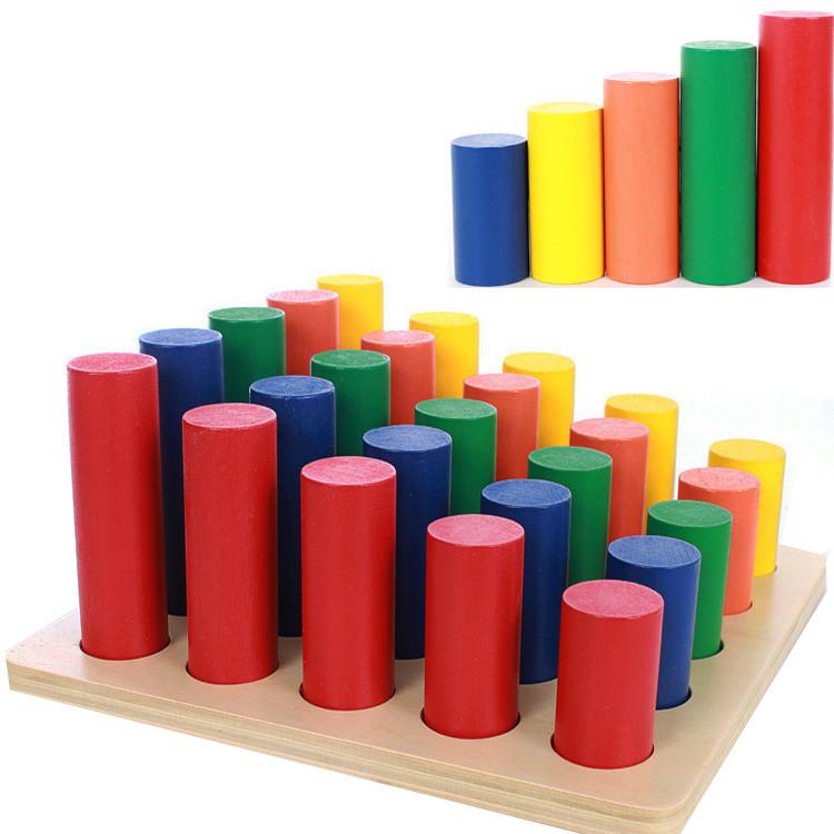 Игра «Цветные цилиндры», деревянная игрушка.