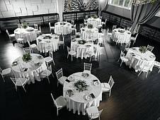 Скатертина Біла Ø 330см Банкетна Туреччина Сервіровка на стіл 180см звисання 75см, фото 3