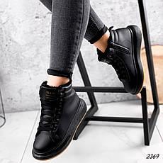 Кросівки жіночі чорні, зимові з еко шкіри. Кросівки жіночі теплі чорні з еко шкіри, фото 2