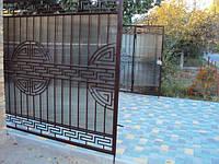 Ворота решетчатые с поликарбонатом и орнаментом