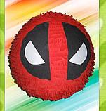Піньята паперова для свята Дедпул Deadpool піньята форма барабан 40 см * 12 см, фото 6