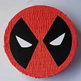 Піньята паперова для свята Дедпул Deadpool піньята форма барабан 40 см * 12 см, фото 3