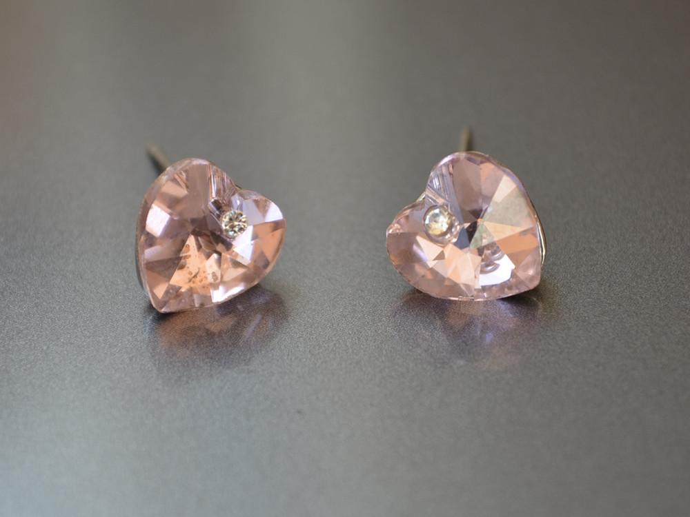 Пуссеты Сердце кристалл, розовый