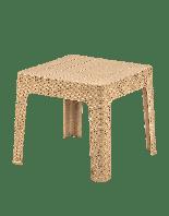 Стол низкий пластиковый Brezza Senyayla ротанг, бежевый, верх под дерево, 45 x 45 x 41 см