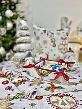 "Скатерть новогодняя гобеленовая тканевая ""Святкова вечеря"" 137 х 240 см скатертина новорічна гобеленова, фото 3"