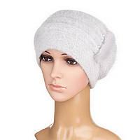 Вязаная женская шапка Anna ангора светло-серого цвета, фото 1