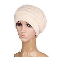 В'язана жіноча шапка Anna ангора бежевого кольору, фото 1