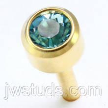 Сережки гвоздики (бижутерия) камень голубой