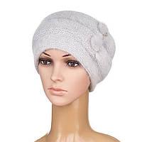 Вязаная женская шапка Nella ангора цвет серый светлый, фото 1
