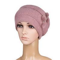 Вязаная женская шапка Nella ангора цвет пудровый, фото 1