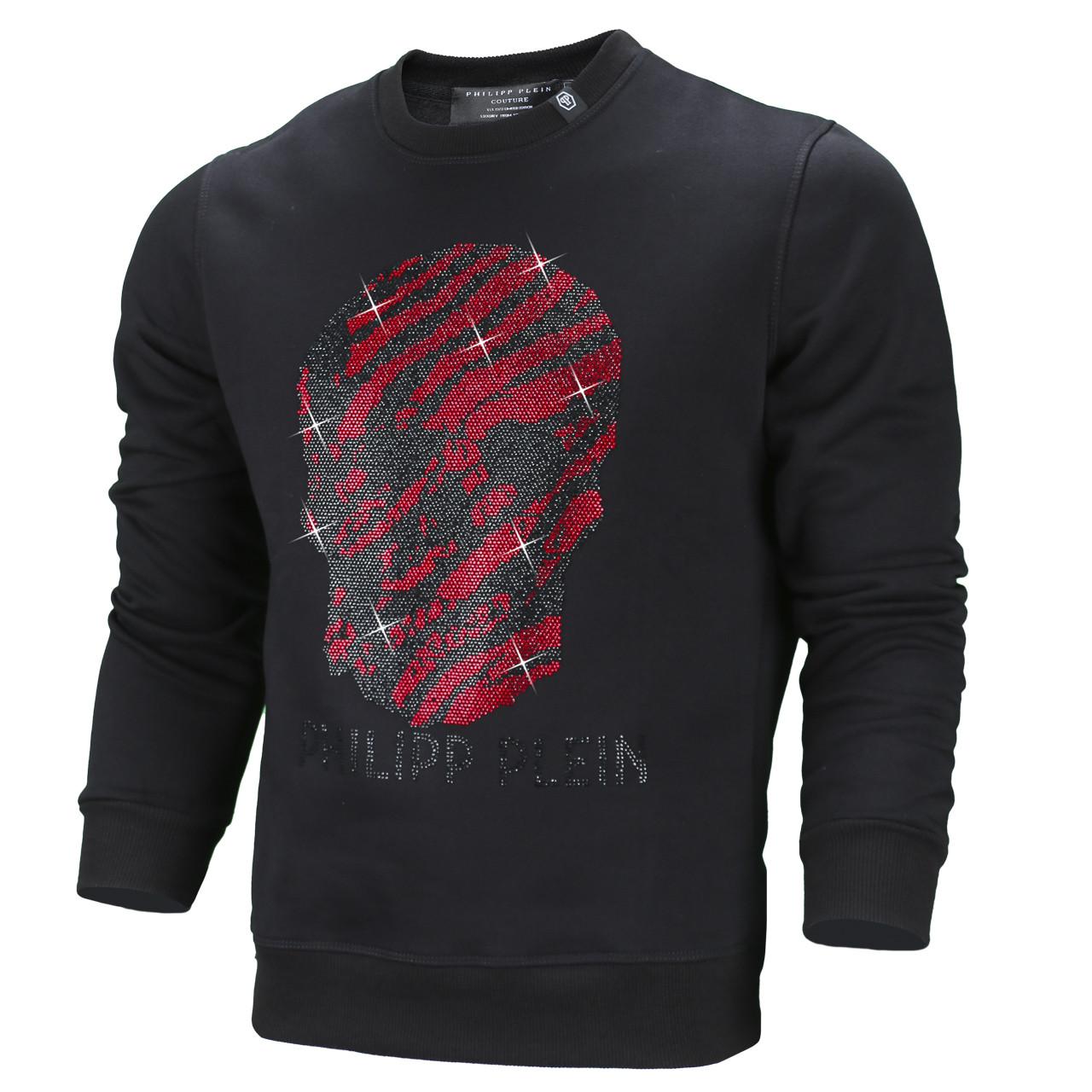Свитшот осень-зима мужской черный с красн PHILIPP PLEIN со стразами #57 BLK/RED M(Р) 21-505-003