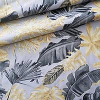 ✁ Відрізи тканини Пальмове листя сіро-бежеві на сірому