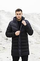 Зимняя длинная мужская куртка черная