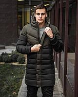 Зимняя длинная мужская куртка хаки