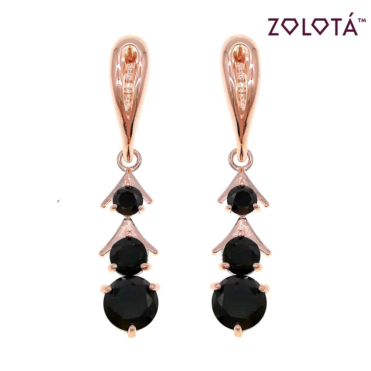 Серьги Zolota, размер 41х8 мм, черные фианиты (куб. цирконий), вес 4 г, позолота PO, ЗЛ00958 (1)