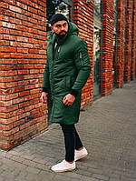 Зимняя длинная мужская парка, теплая куртка зеленая