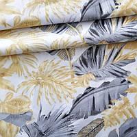 ✁ Відрізи тканини Пальмове листя сіро-бежеві на білому