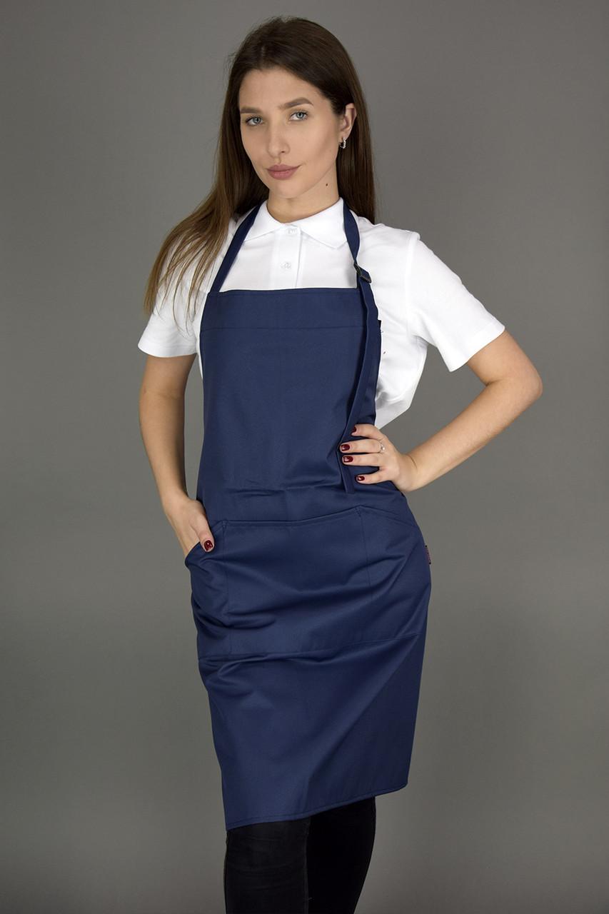Фартух кухарський/официантский з нагрудником,темно-синій