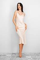 Платье комбинация из шёлка на регулируемых бретелях персиковый цвет