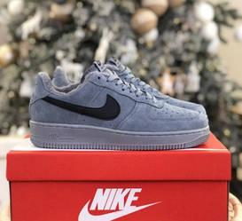 Кроссовки Nike Air Force Gray серые Замш с мехом