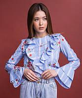 Блуза женская с оборками OLMOD 703-1 S голубая