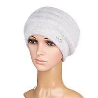Вязаная женская шапка Darina ангора серого цвета, фото 1
