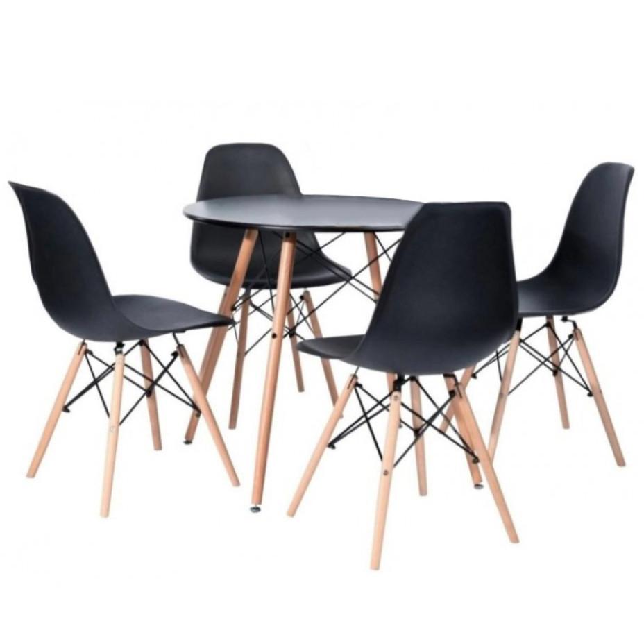 Столик кухонный обеденный Bonro В-957-900 90х75 см + 4 черных кресла B-173