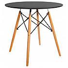 Столик кухонный обеденный Bonro В-957-900 90х75 см + 4 черных кресла B-173, фото 2