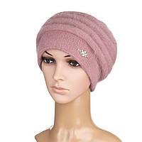 Вязаная женская шапка Darina ангора пудрового цвета, фото 1