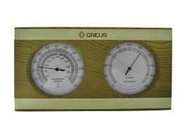 Термогігрометр Greus кедр/сосна 26х14 для лазні та сауни