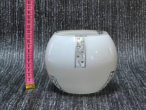 Ваза стекло скло белая высота 12 см, высота 12 см, фото 2
