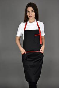Фартук поварской/официантский с нагрудником водоотталкивающий,чёрно/красный