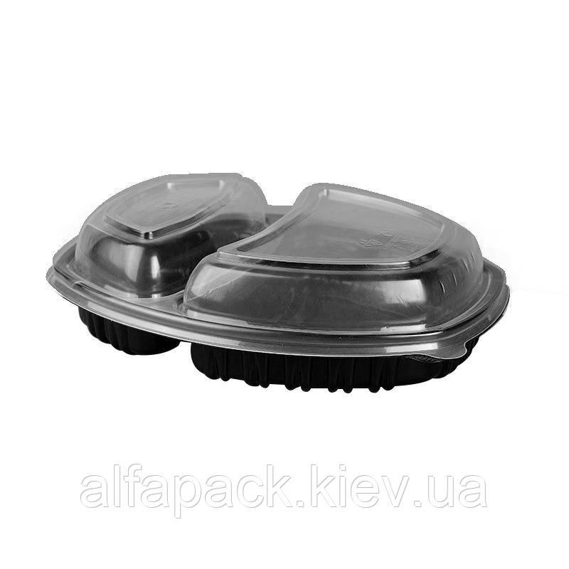 Контейнер ланч-бокс 2-х секционный черный с крышкой, упаковка 70 шт, (8,5 грн/шт)