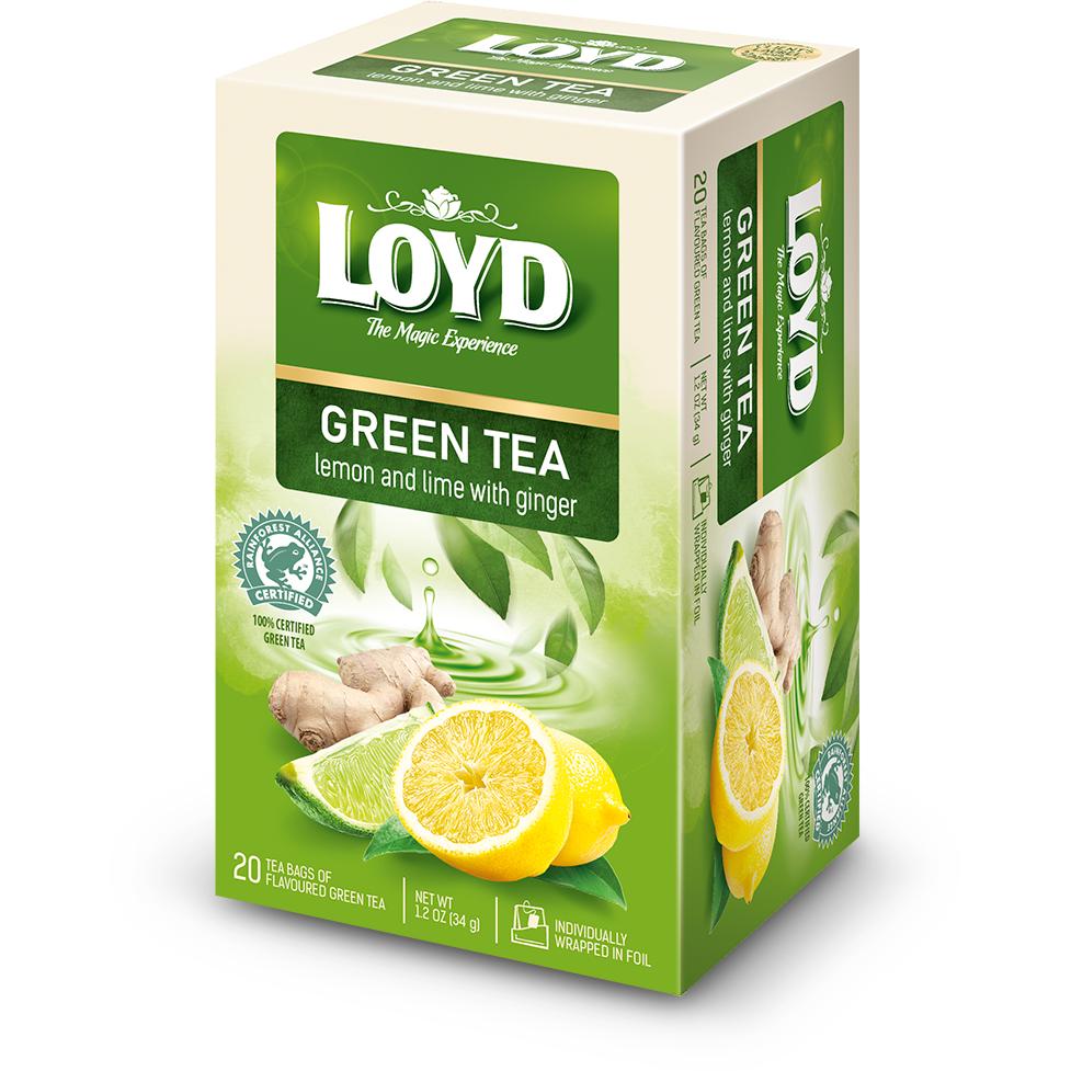 Чай зелений LOYD зі смаком лимона, лайма та імбиру 34г (20пак.), 8шт/ящ