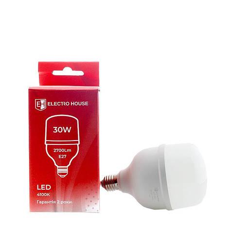 Светодиодная высокомощная лампа ElectroHouse T80 30W E27 4100K 2700Lm (EH-LMP-1301), фото 2