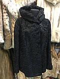 Каракульча черная свакара шуба полушубок с капюшоном каракульча натур. размер 48 50 натуральный мех, фото 4